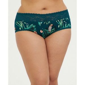 🆕 Teal Tropical Lace Cotton Cheeky Panty Torrid